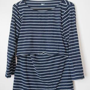 Gap striped double layer nursing top